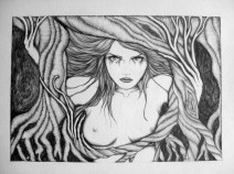 Entangled, trapped. Twisted mind and twisted limbs. Her rage grows