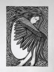 The bird, she curls In the nest that is her cage Broken, flightless